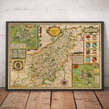 Load image into Gallery viewer, Old Map of Northamptonshire, 1611 by John Speed - Northampton, Kettering, Peterborough - Vintage Map, Antique Wall Art - Framed or Unframed