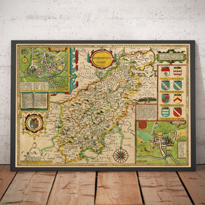 Old Map of Northamptonshire, 1611 by John Speed - Northampton, Kettering, Peterborough - Vintage Map, Antique Wall Art - Framed or Unframed