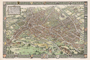 A picture map of Birmingham in 1730 by Bernard Sleigh