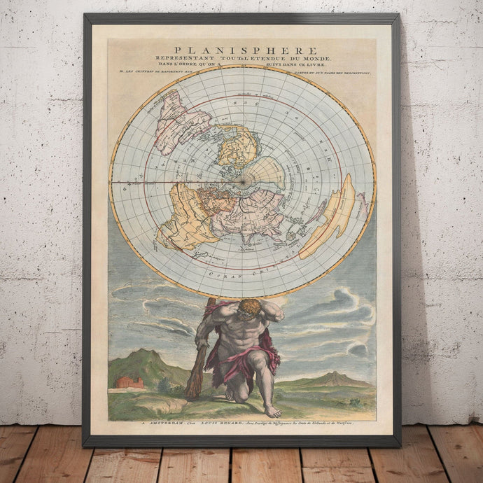 Old Planisphere World Map, 1715 by Louis Renard - Cassini Projection - Atlas Shrugged - Antique Vintage Christmas Gift - Framed or Unframed
