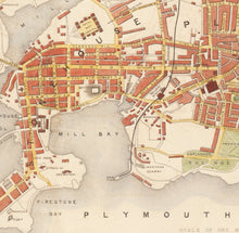 Load image into Gallery viewer, Old Map of Plymouth in 1851 by Tallis, Rapkin - Stonehouse, Devonport - Handcoloured Vintage Wall Art - Christmas Gift - Framed, Unframed