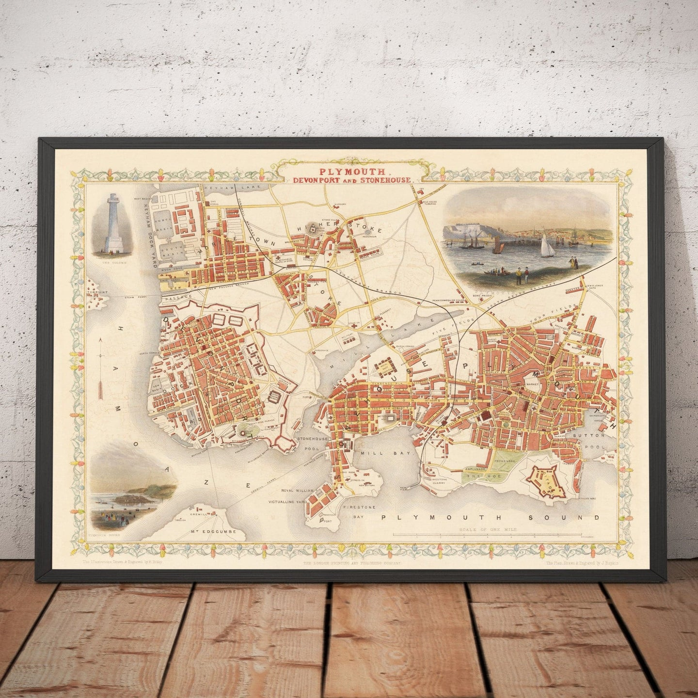 Old Map of Plymouth in 1851 by Tallis, Rapkin - Stonehouse, Devonport - Handcoloured Vintage Wall Art - Christmas Gift - Framed, Unframed