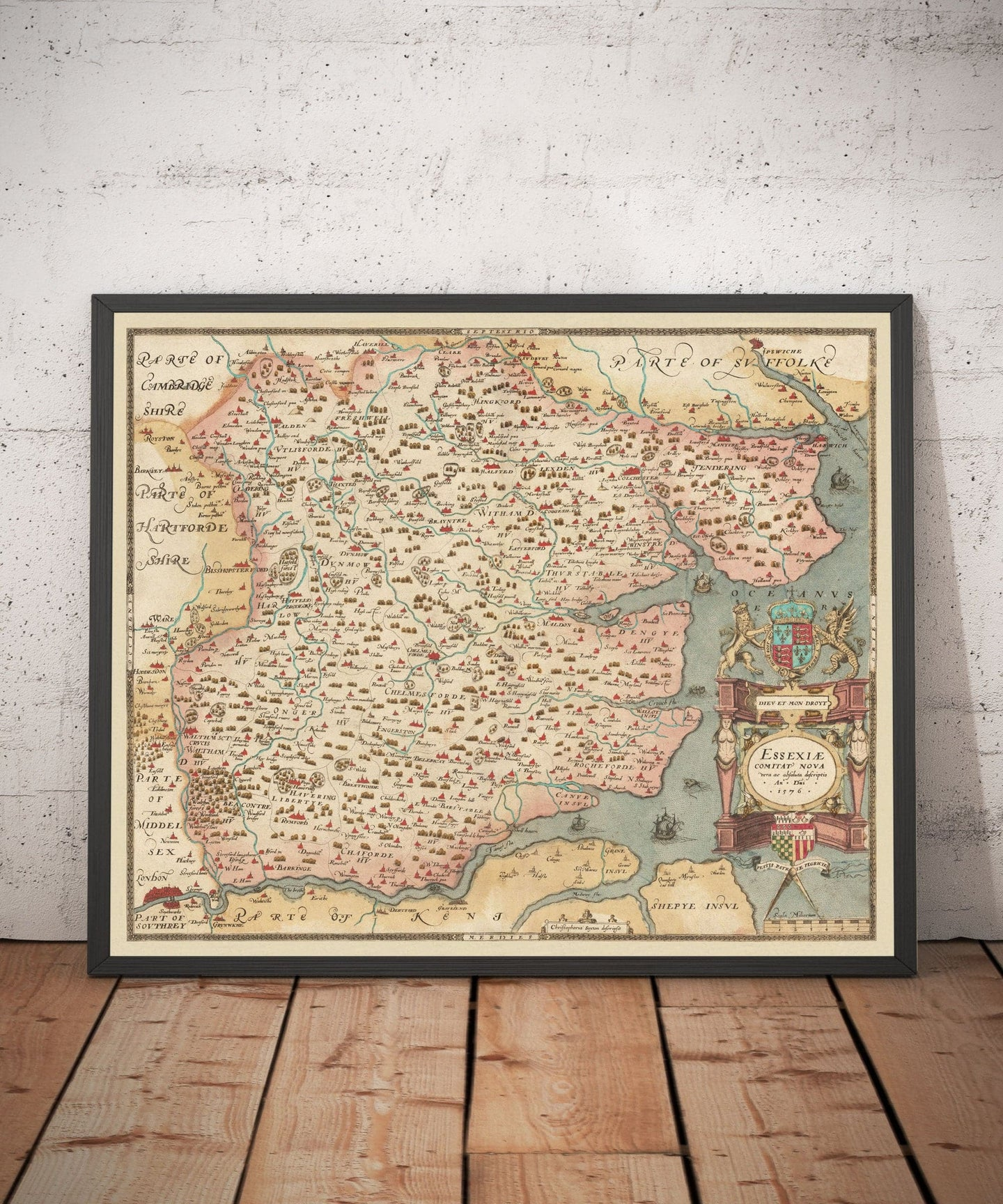 Old Map of Essex 1579 by Christopher Saxton - First Map of Essex -  Southend, Colchester, Chelmsford - Vintage, Antique Christmas Gift - Framed, Unframed