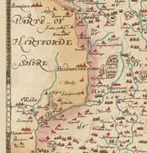 Load image into Gallery viewer, Old Map of Essex 1579 by Christopher Saxton - First Map of Essex -  Southend, Colchester, Chelmsford - Vintage, Antique Christmas Gift - Framed, Unframed