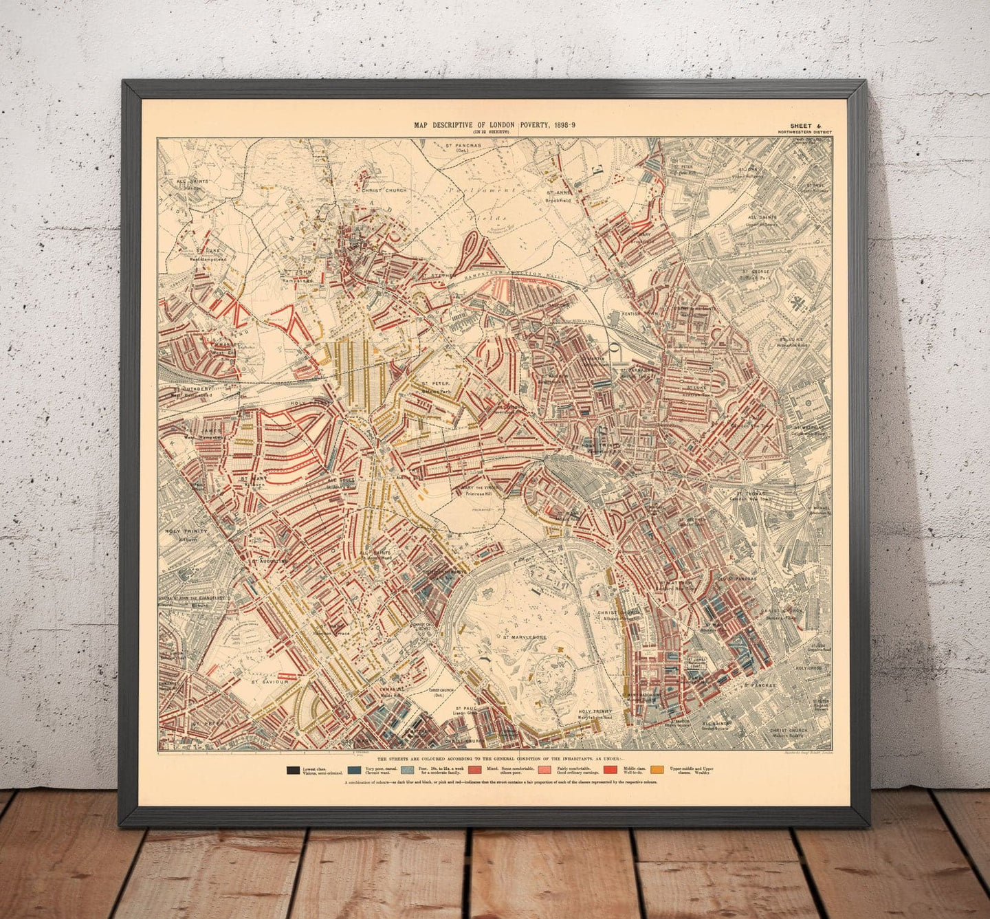 Map of London Poverty 1898-9, North Western District, by Charles Booth - Framed or Unframed