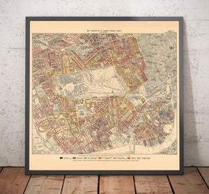 Map of London Poverty 1898-9, Inner Western District, by Charles Booth - Framed or Unframed