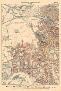 Map of London Poverty 1898-9, Outer Western District, by Charles Booth - Framed or Unframed