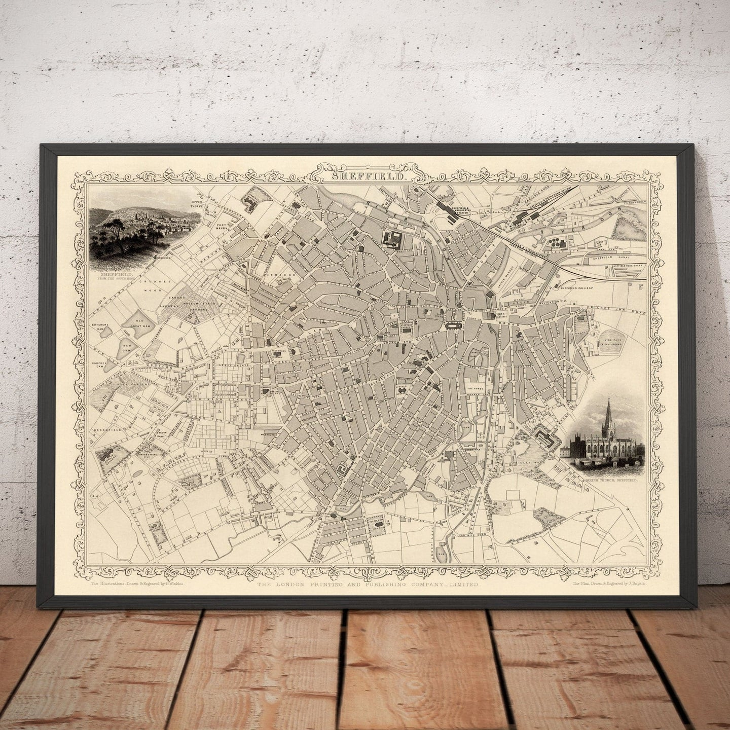 Old Map of Sheffield, Yorkshire in 1851 by Tallis, Rapkin - Antique Vintage City Wall Art - Christmas or Birthday Gift - Framed or Unframed