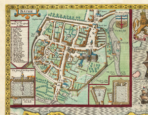 Old Map of Somerset in 1611 by John Speed - Bath, Portishead, Weston-super-Mare, Taunton - Vintage Map, Antique Map - Framed or Unframed