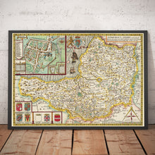 Load image into Gallery viewer, Old Map of Somerset in 1611 by John Speed - Bath, Portishead, Weston-super-Mare, Taunton - Vintage Map, Antique Map - Framed or Unframed