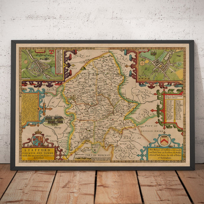 Old Map of Staffordshire, 1611 by John Speed - Stafford, Wolverhampton, Stoke-on-Trent, Lichfield - Personalised Vintage Christmas Gift - Framed Unframed