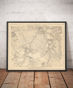Old Map of South London in 1862 by Edward Stanford - Clapham, Balham, Brixton, Tooting - Vintage Map, Large Antique Wall Art - Framed or Unframed