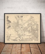Load image into Gallery viewer, Old Map of North London in 1862 by Edward Stanford - Highgate, Hampstead Heath, Holloway, Crouch End - Vintage Map, Large Antique Wall Art - Framed or Unframed