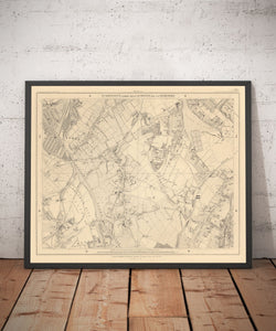 Old Map of South London in 1862 by Edward Stanford - Dulwich, Peckham Rye, Herne Hill, Forest Hill - Vintage Map, Large Antique Wall Art - Framed or Unframed