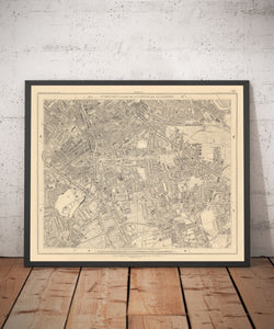 Old Map of South London in 1862 - Camberwell, Peckham, Walworth, Nunhead, Old Kent Road - Vintage Antique Wall Art - Framed or Unframed