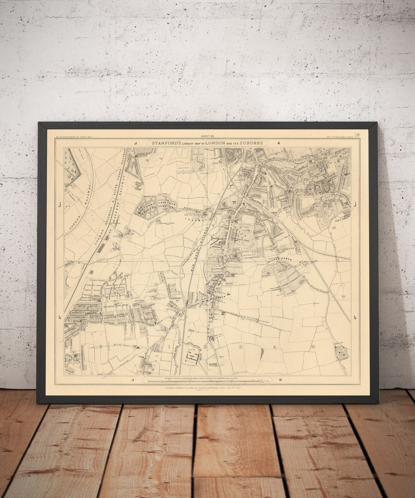 Old Map of South East London, 1862 - Lewisham, Ladywell, Brockley, Catford - Personalised Antique Christmas Gift - Framed, Unframed