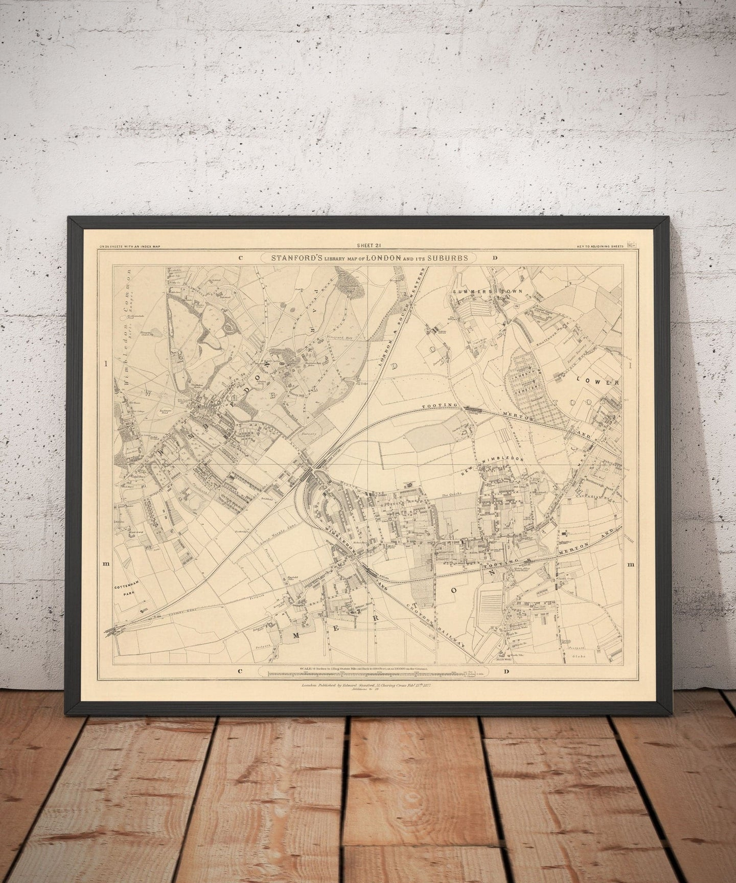 Old Map of South West London, 1862 by Edward Stanford - Wimbledon, Merton, Summerstown - Personalised Antique Christmas Gift - Framed, Unframed
