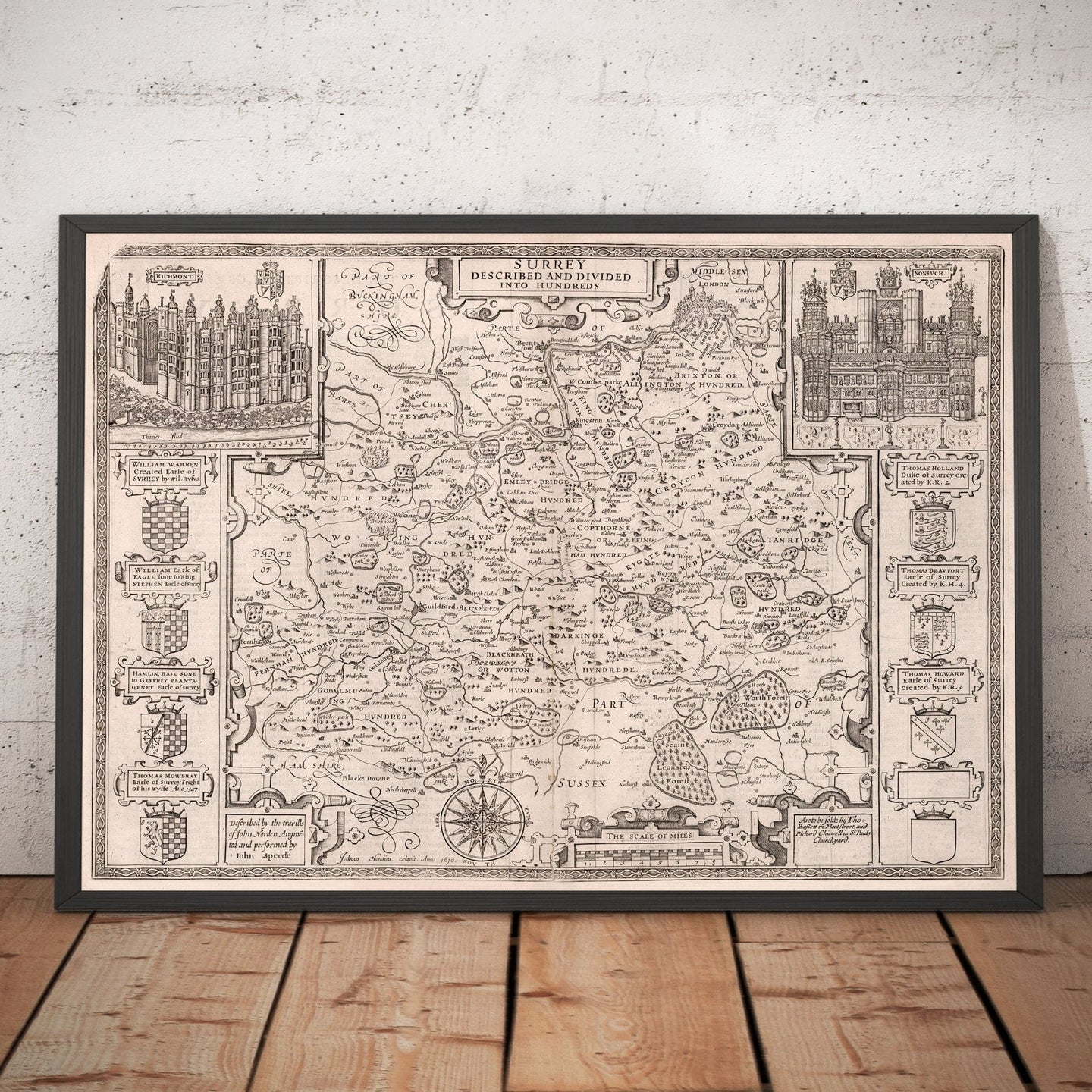 Old Map of Surrey in 1611 by John Speed - Woking, Guildford, Croydon, Richmond, London - Vintage Monochrome Wall Art - Framed or Unframed