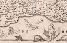 Load image into Gallery viewer, Old Map of Sussex in 1611 by John Speed - Worthing, Crawley, Brighton, Bognor, Eastbourne - Vintage Antique Wall Art - Framed or Unframed
