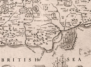Old Map of Sussex in 1611 by John Speed - Worthing, Crawley, Brighton, Bognor, Eastbourne - Vintage Antique Wall Art - Framed or Unframed
