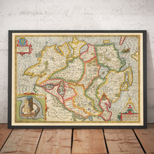 Load image into Gallery viewer, Old Map of Ulster, Northern Ireland in 1611 by John Speed - Belfast, Derry, County Antrim & Down - Christmas Gift - Vintage Map - Framed Unframed