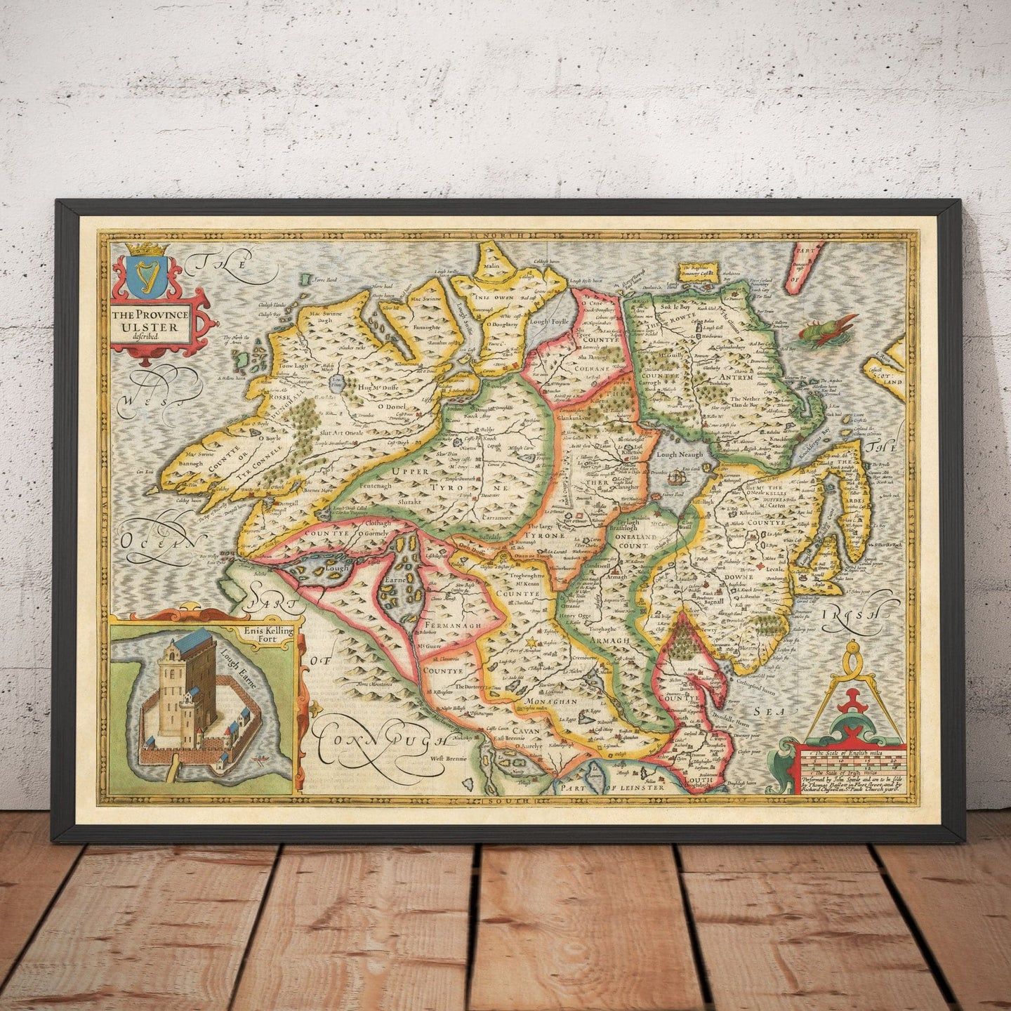 Old Map of Ulster, Northern Ireland in 1611 by John Speed - Belfast, Derry, County Antrim & Down - Christmas Gift - Vintage Map - Framed Unframed