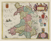 Load image into Gallery viewer, Rare Old Map of Wales by Jean Blaeu, 1645 - from the Theatrum Orbis Terrarum Sive Atlas Novus - Framed or Unframed