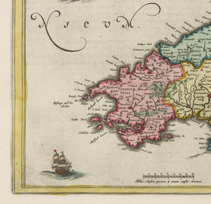 Rare Old Map of Wales by Jean Blaeu, 1645 - from the Theatrum Orbis Terrarum Sive Atlas Novus - Framed or Unframed