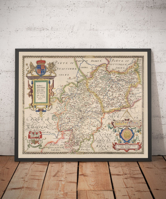 Old Map of Warwick - Leicester 1579, Saxton - Birmingham, Coventry, Solihull, Nuneaton - Vintage, Antique Christmas Gift - Framed, Unframed