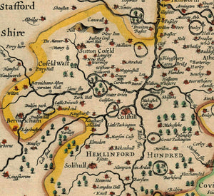 Old Map of Warwickshire in 1611 by John Speed - Birmingham, Coventry, Solihull, Warwick - Vintage Map, Antique Map - Framed or Unframed