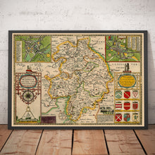 Load image into Gallery viewer, Old Map of Warwickshire in 1611 by John Speed - Birmingham, Coventry, Solihull, Warwick - Vintage Map, Antique Map - Framed or Unframed