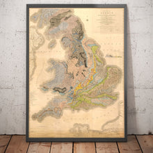 Load image into Gallery viewer, Rare William Smith Geology Map of England, Scotland & Wales, 1815 - Up to 5 meters (16ft) - Vintage Wall Art - Framed or Unframed