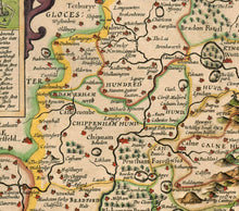Load image into Gallery viewer, Old Map of Wiltshire in 1611 by John Speed - Salisbury, Stonehenge, Swindon, Trowbridge - Vintage Map, Antique Map - Framed or Unframed