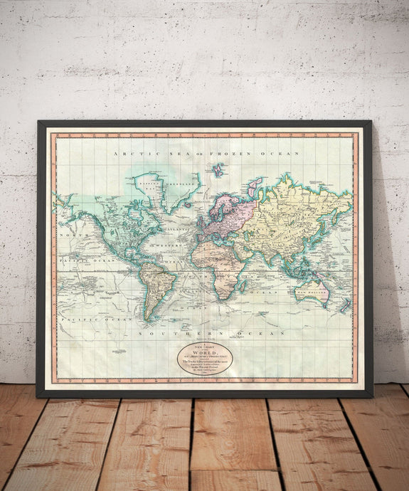 Old World Map from 1801 by John Cary - Vintage Atlas Map, Antique Wall Art - Framed or Unframed - Large World Map