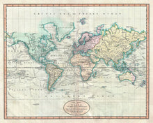 Load image into Gallery viewer, Old World Map from 1801 by John Cary - Vintage Atlas Map, Antique Wall Art - Framed or Unframed - Large World Map