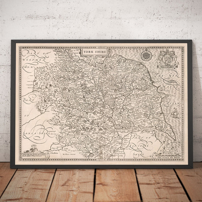 Old Map of Yorkshire, 1611, John Speed - Hull, York, Middlesbrough, Sheffield, Leeds - Personalised Vintage Christmas Gift - Framed Unframed