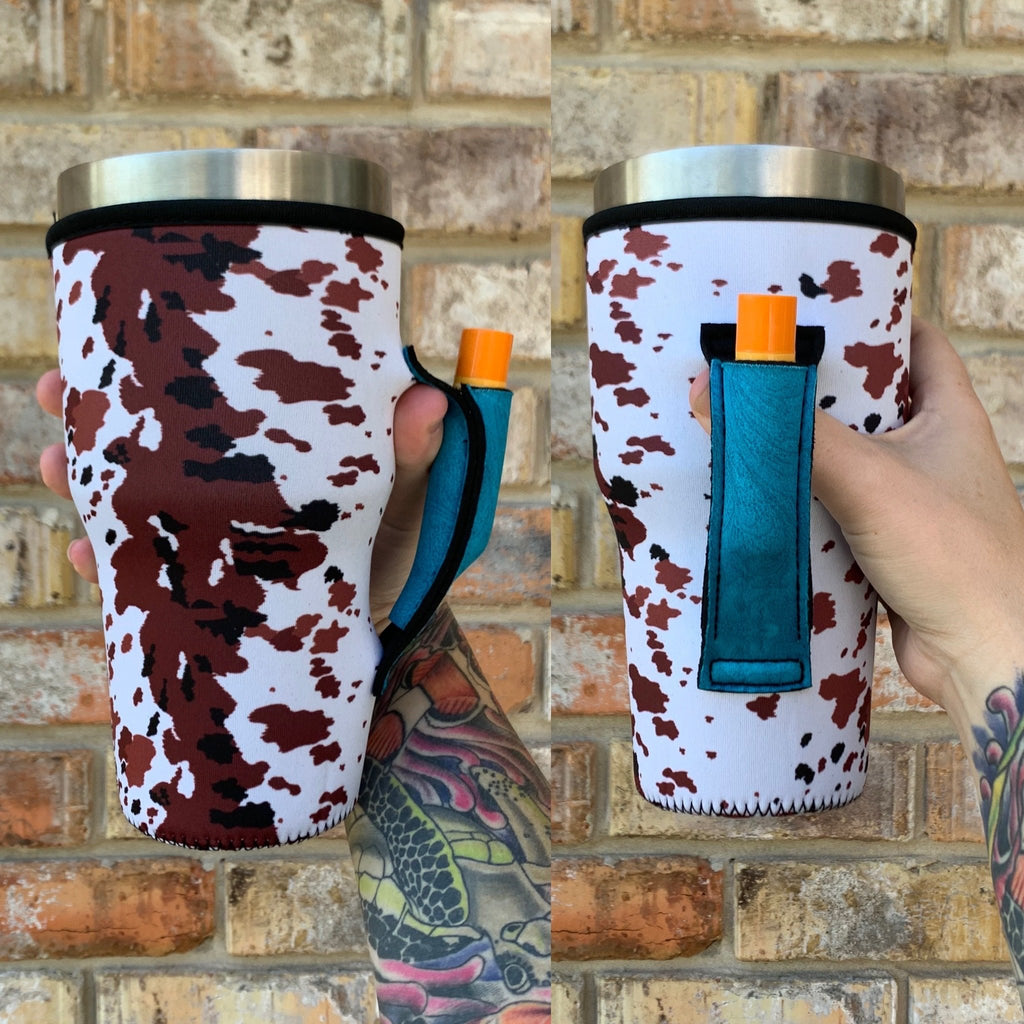 Cowhide W/ Turquoise Leather 30oz Tumbler Handler