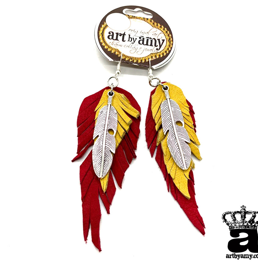 Chiefs Leather Feather Earrings