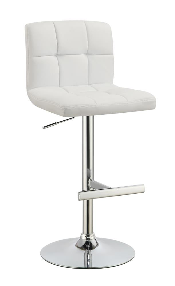 Contemporary White Adjustable Padded Back Bar Stool
