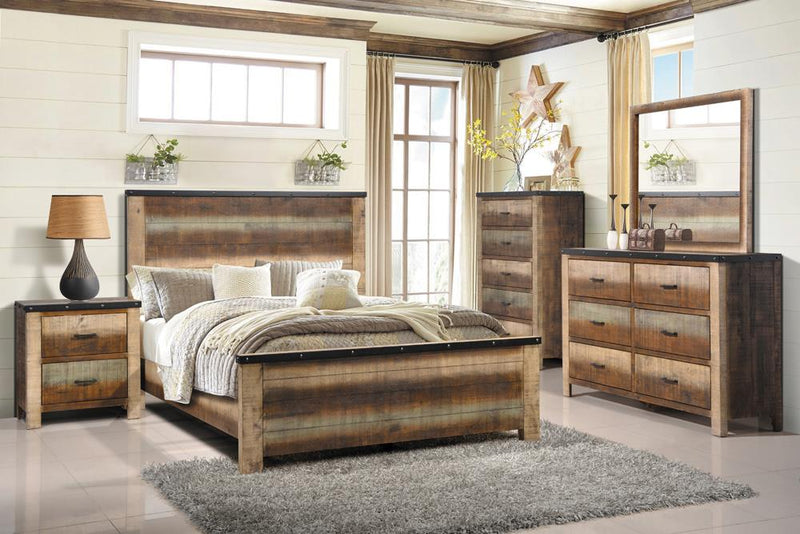 Sembene Bedroom Rustic Antique Multi-Color Eastern King Five-Piece Set