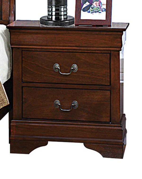 Homelegance Mayville 2 Drawer Nightstand in Brown Cherry 2147-4