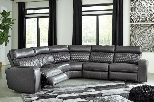 Samperstone Signature Design by Ashley 5-Piece Power Reclining Sectional