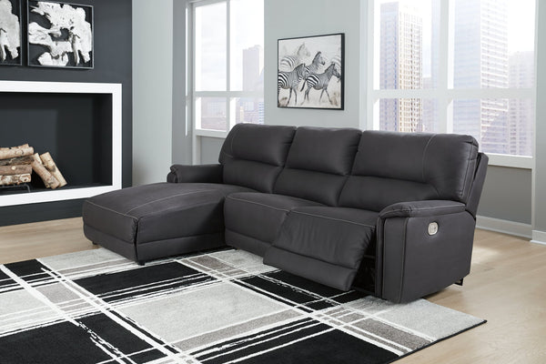Henefer Signature Design by Ashley 3-Piece Power Reclining 3-Piece Reclining Sectional with Chaise