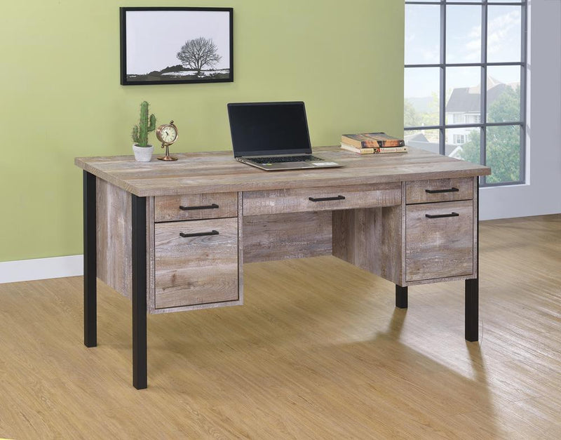 Samson Rustic Weathered Oak Office Desk