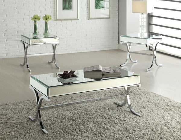 Yuri Mirrored Top & Chrome Coffee Table image