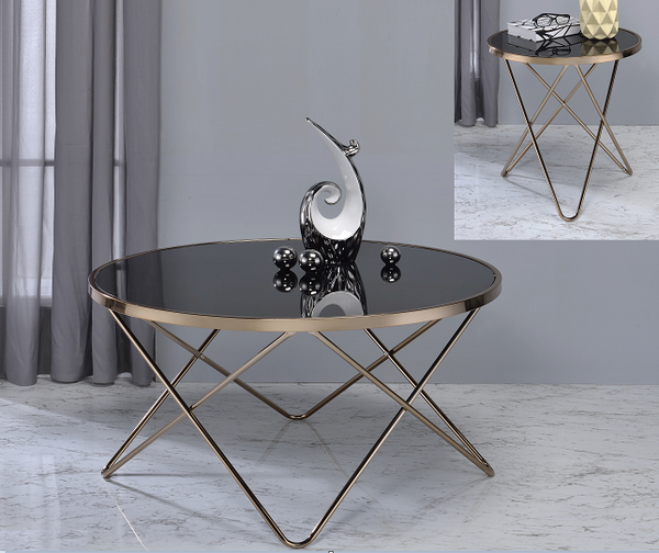 Valora Champagne & Black Glass Coffee Table image
