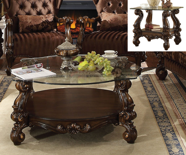 Versailles Cherry Oak & Clear Glass Coffee Table image