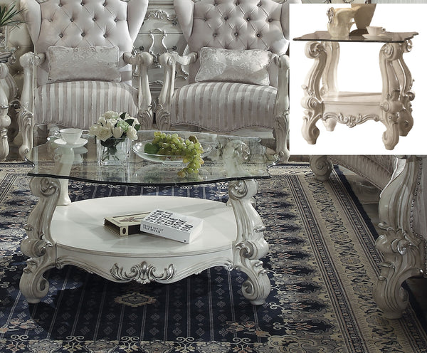 Versailles Bone White & Clear Glass Coffee Table image