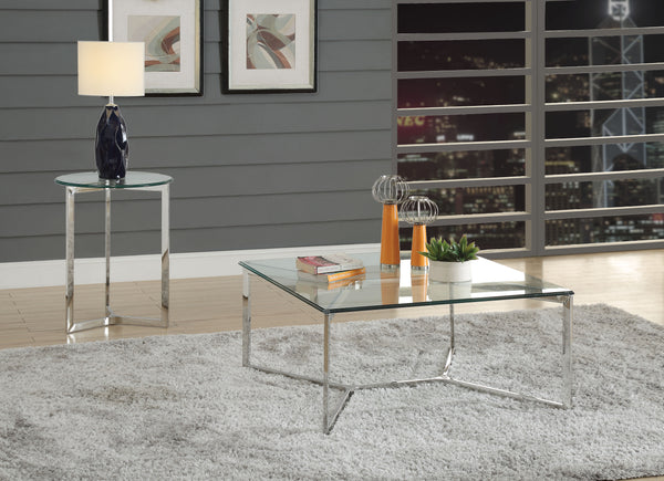 Volusius Stainless Steel & Clear Glass Coffee Table image