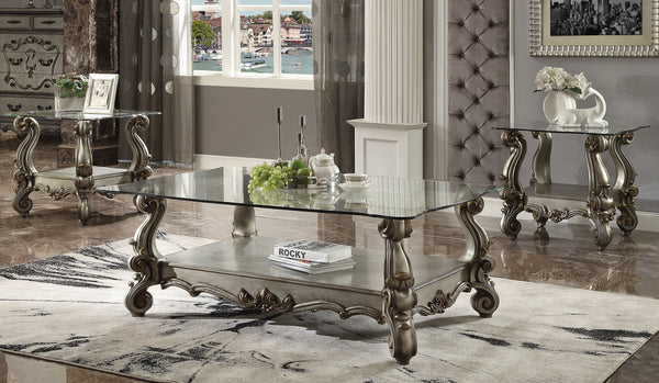 Versailles Antique Platinum & Clear Glass Coffee Table image